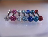 1.2mm Titanium Barbell with Precosia Jewelled Balls Body Jewellery