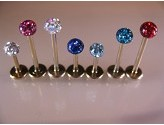 1.2mm PVD Gold Labret Stud with Precosia Ball Body Jewellery