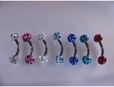 1.2mm Titanium Curved Barbells with Precosia Jewelled Balls Body Jewellery